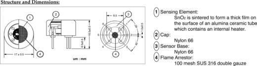 Gas-Sensor TGS-822 Figaro Passend für Gase: Kohlenmonoxid, Ammoniak, Schwefeldioxyd, Alkohol, Benzin (Ø x H) 17 mm x 10