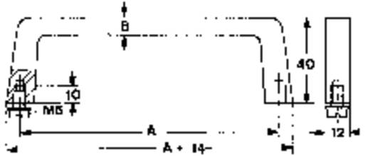 Tragegriff Aluminium (L x B x H) 134 x 8 x 40 mm Mentor 268.3 1 St.