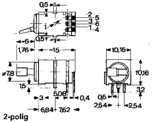 Kippschalter 0.5 A 2 x Ein/Aus/Ein Mentor 1847.3032 rastend/0/rastend 1 St.