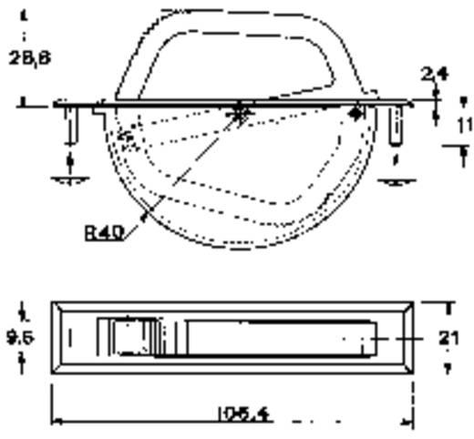 Klappgriff Schwarz (L x B x H) 106.4 x 21 x 28.8 mm Mentor 3211.1003 1 St.