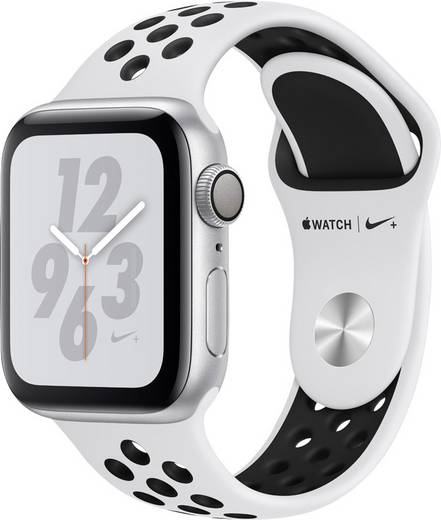 competitive price 2b7ec 155e3 Apple Watch Series 4 Nike+ 40 mm Aluminiumgehäuse Silber Sportarmband  Platin, Schwarz