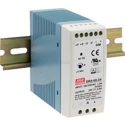 Sieťový zdroj na montážnu lištu (DIN lištu) Mean Well DRA-60-12, 1 x, 12 V/DC, 5 A, 60 W