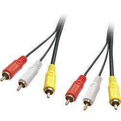AV prepojovací kábel LINDY LINDY Audio-Videokabel 3xRCA m/3x RCAm 35692, [3x cinch zástrčka - 3x cinch zástrčka], 3 m, čierna