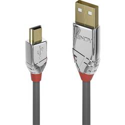 USB 2.0 prepojovací kábel LINDY LINDY 3m USB 2.0 A/Mini-B Kabel Cromo 36633, 3 m, sivá