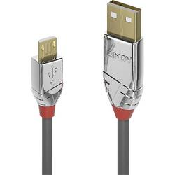 USB 2.0 prepojovací kábel LINDY LINDY 3m USB 2.0 A/Micro-B Kabel Cromo 36653, 3.00 m, sivá