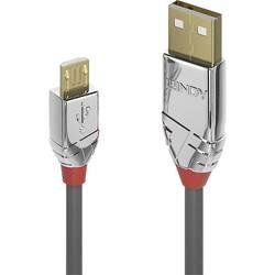 USB 2.0 prepojovací kábel LINDY LINDY 3m USB 2.0 A/Micro-B Kabel Cromo 36653, 3 m, sivá