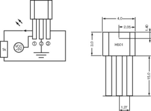 PIC Hallsensor H501 3.8 - 24 V/DC Messbereich: +4 - +35 T TO-92-UA Löten