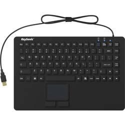 Klávesnica Keysonic KSK-5230 IN (US), silikónová membrána, vodotesné (IPX7), integrovaný touchpad, tlačidlá myši, čierna