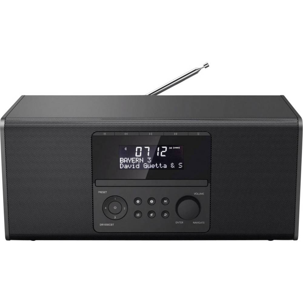Hama DR1550CBT Tafelradio DAB+, FM Bluetooth, CD, USB Zwart