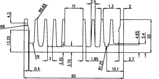 Profilkühlkörper 7 K/W (L x B x H) 50 x 60 x 20 mm Pada Engineering 8495/50/N