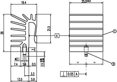 Dissipatore Aavid Thermalloy ML516/25 8.97 K/W (L x L x A) 28 x 25 x 19.4 mm TO-220, MAX-220