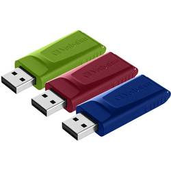 USB flash disk Verbatim Slider 49326, 16 GB, USB 2.0, červená, modrá, zelená