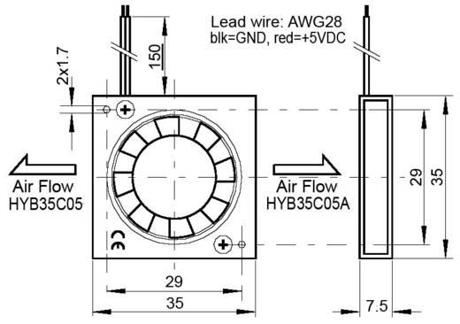 Axiallüfter 5 V/DC 27 l/min (L x B x H) 35 x 35 x 7.5 mm SEPA HYB35C05PAD