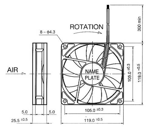 Axiallüfter 24 V/DC 195 m³/h (L x B x H) 119 x 119 x 25 mm NMB Minebea 4710KL-05W-B50