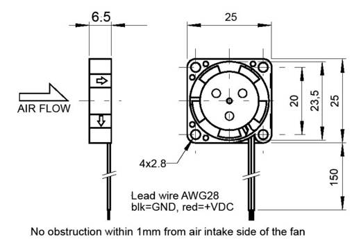 SEPA MFB25B05 Axiallüfter 5 V/DC 23 l/min (L x B x H) 25 x 25 x 6.5 mm