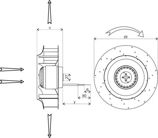 Ecofit 2RRE45-250X50R L47-A3 Axiallüfter 230 V/AC 1400 m³/h (Ø x H) 252 mm x 103.5 mm