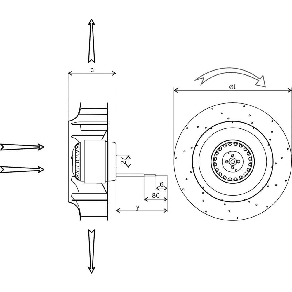 Axial fan 230 V AC 590 m³/h (Ø x H) 192 mm x 70 mm Ecofit