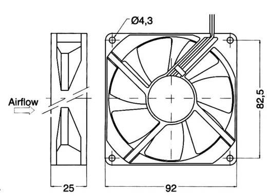 Axiallüfter 24 V/DC 93 m³/h (L x B x H) 92 x 92 x 25 mm NMB Minebea 3610KL-05W-B50