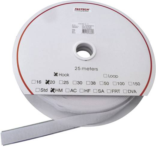 Klettband zum Aufkleben Haftteil (L x B) 25000 mm x 25 mm Weiß Fastech HOOK HM PS-A69M 25 m