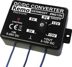 Transformateur de tension (kit monté) Kemo M015N Tension d'entrée: 28 - 6 V/DC Tension de sortie (gamme): 15 - 3 V/DC