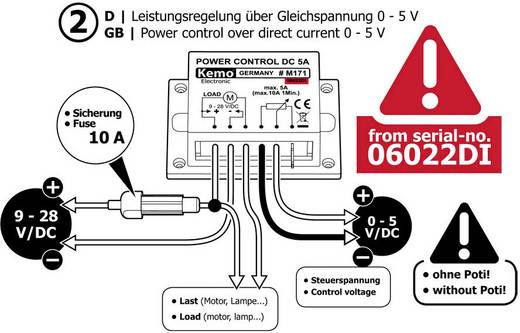 Leistungsregler Baustein Kemo M171 9 V/DC, 12 V/DC, 24 V/DC