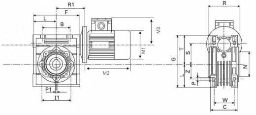 Drehstrommotor MSF-Vathauer Antriebstechnik GM 0,55-MS-HY-Q50-i25-B14 IE1 0.55 kW 1.5 A 230 V/400 V B14 56 U/min 70 Nm