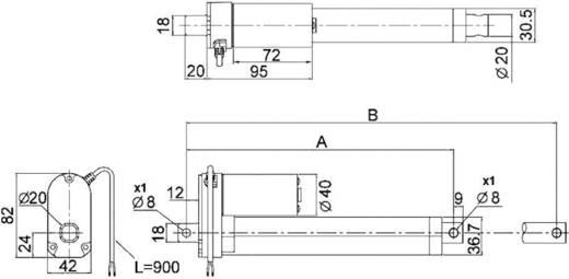 Elektrozylinder 12 V/DC Hublänge 200 mm 250 N Drive-System Europe DSZY1-12-10-A- 200-IP65