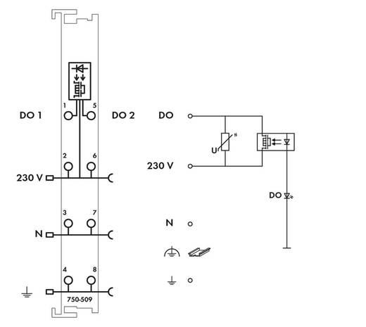 SPS-Ausgangskarte WAGO 750-509 230 V/DC, 230 V/AC