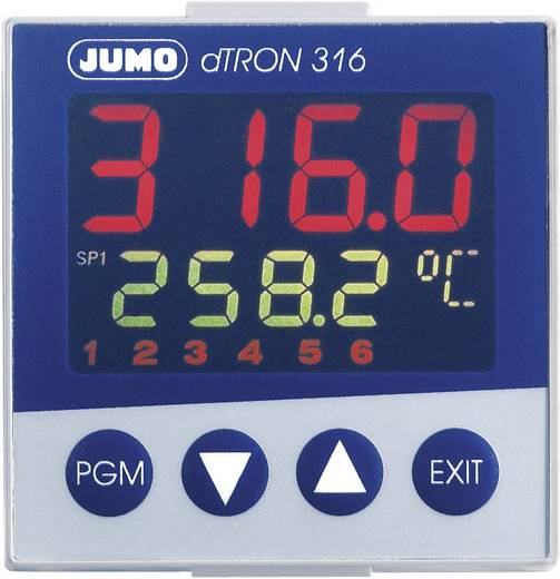 PID Temperaturregler Jumo dTRON 316 Pt100, Pt500, Pt1000, KTY11-6, L, J, U, T, K, E, N, S, R, B, C, D -200 bis +2400 °C Relais 3 A, Analog Strom (L x B x H) 105 x 48 x 48 mm