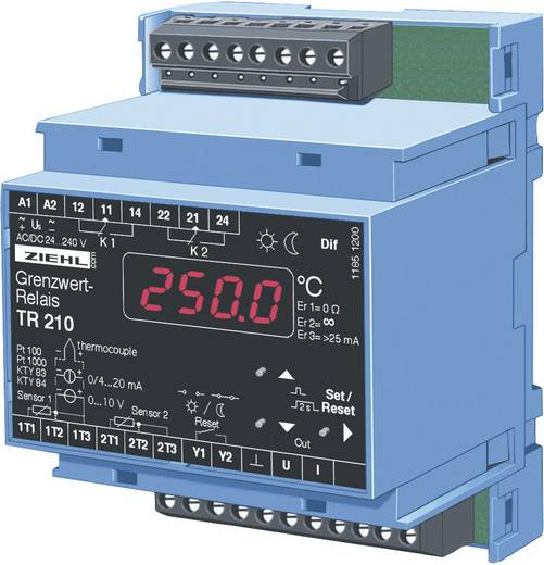 Ziehl TR 210 Temperaturregler KTY -270 bis 1820 °C Relais 5 A, Analog Strom (L x B x H) 58 x 70 x 90 mm