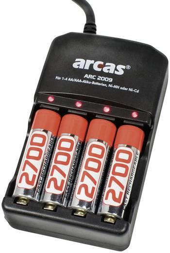 Rundzellen-Ladegerät NiCd, NiMH inkl. Akkus Arcas ARC-2009 Micro (AAA), Mignon (AA)