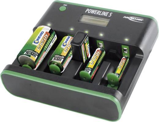 Rundzellen-Ladegerät NiCd, NiMH Ansmann Powerline 5 Zero-Watt Micro (AAA), Mignon (AA), Baby (C), Mono (D), 9 V Block