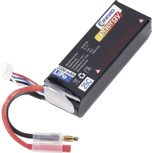 Modellbau-Akkupack (LiPo) 11.1 V 2200 mAh 25 C Conrad energy 4 mm