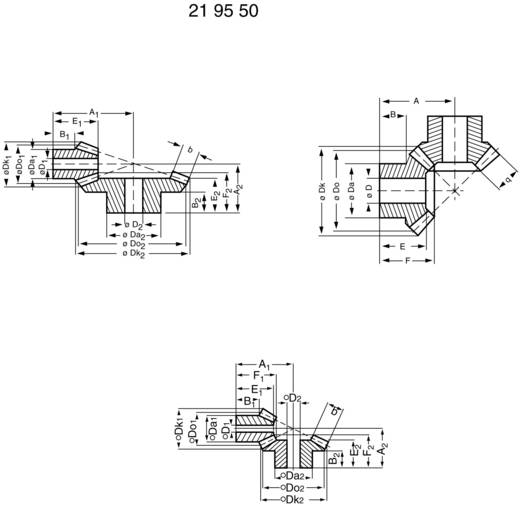 Acetalharz-Kegelrad Reely Modul-Typ: 1.0 Anzahl Zähne: 15, 45 1 Paar