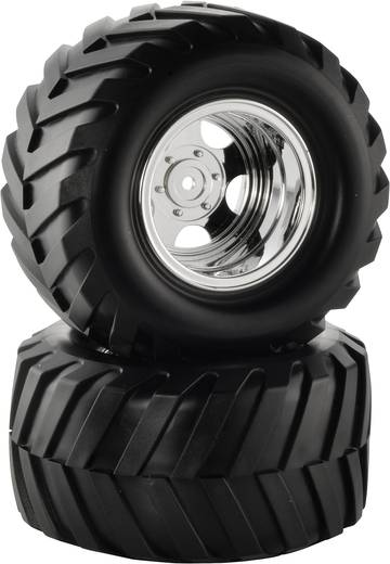 Reely 1:10 Monstertruck Kompletträder Traktor 5-Speichen Chrom 2 St.