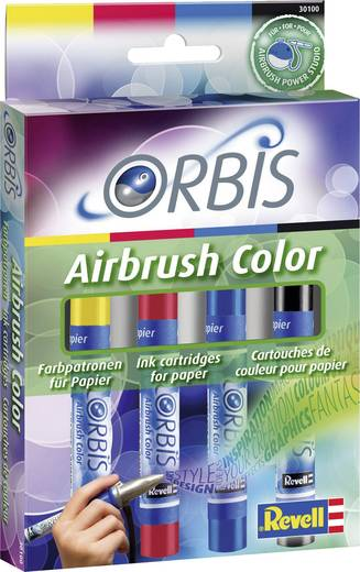 Airbrush-Acrylfarbe Orbis Airbrush Rot, Gelb, Blau, Schwarz Patronen 1 Set