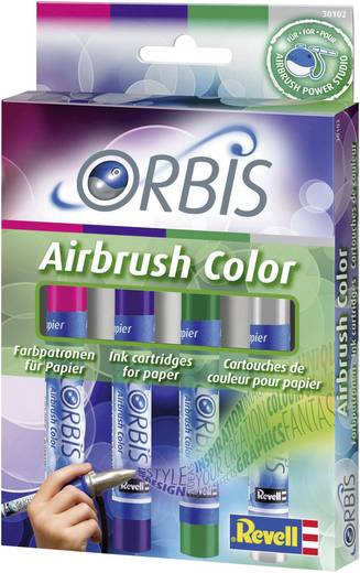 Airbrush-Acrylfarbe Orbis Airbrush Kirsch-Rot, Lila, Dunkel-Grün, Grau Patronen 1 Set