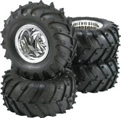 Kompletní kola Reely 7203+7102 pro monster truck, 125 mm, 1:10, 4 ks, chrom