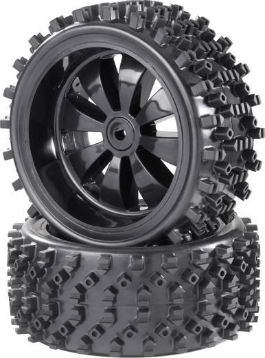 Reely 1:6 Buggy Kompletträder Block-Spike 8-Speichen Schwarz (glänzend) 2 St.