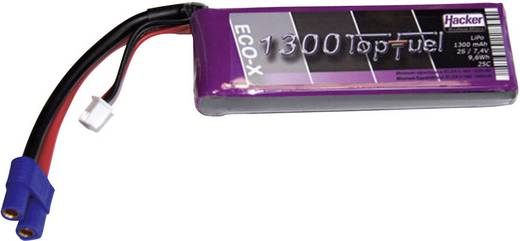 Modellbau-Akkupack (LiPo) 7.4 V 1300 mAh Zellen-Zahl: 2 25 C Hacker EC3