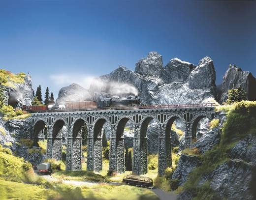 H0 Bruchstein-Viadukt 1gleisig Universell (L x B x H) 370 x 44 x 245 mm NOCH 58660