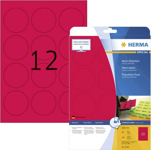 Herma 5156 Etiketten (A4) Ø 60 mm Papier Neon-Rot 240 St. Permanent Neon-Etiketten, Markierungspunkte Etiketten Tinte, L