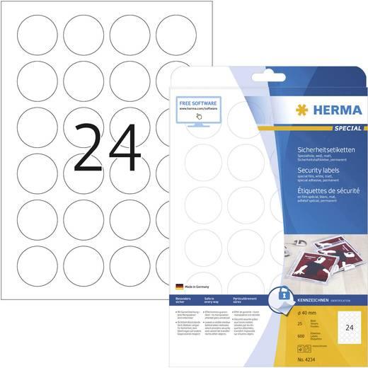 Herma 4234 Etiketten (A4) Ø 40 mm Folie Weiß 600 St. Permanent Sicherheits-Etiketten, Universal-Etiketten Laser, Kopie