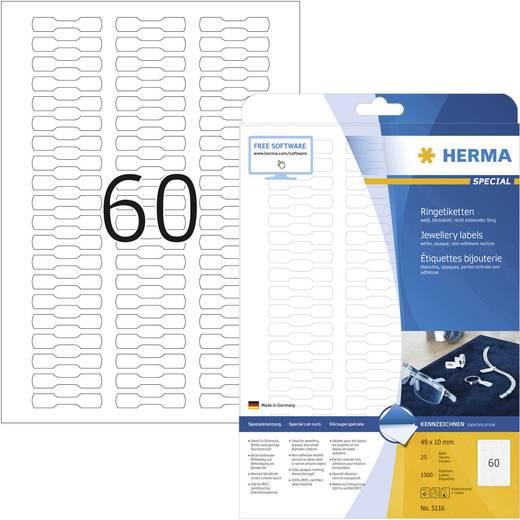 Herma 5116 Etiketten (A4) 49 x 10 mm Papier Weiß 1500 St. Permanent Ring-Etiketten Tinte, Laser, Kopie