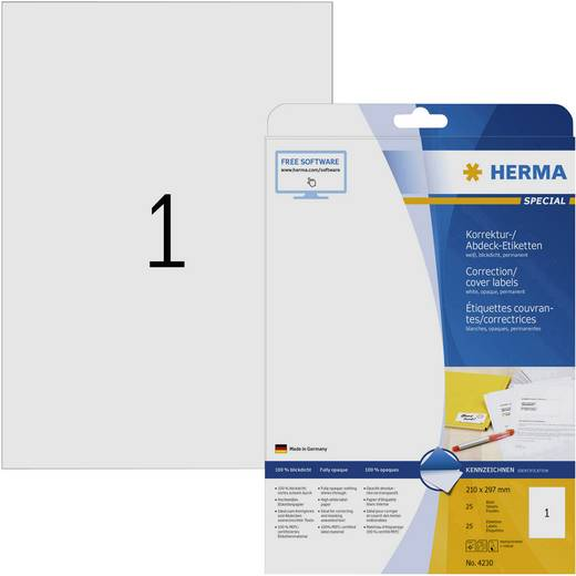 Herma 4230 Etiketten (A4) 210 x 297 mm Papier Weiß 25 St. Permanent Korrektur-Etiketten, Abdeck-Etiketten Tinte, Laser, Kopie