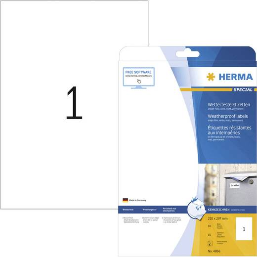Herma 4866 Etiketten 210 x 297 mm Folie Weiß 10 St. Permanent Universal-Etiketten, Wetterfeste Etiketten