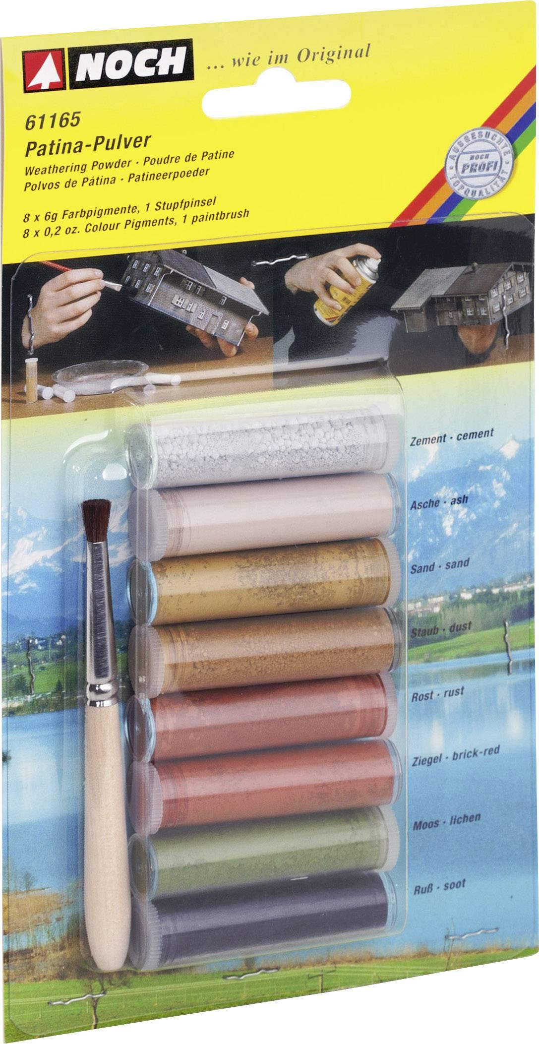 Modellbahn Pulverfarbe Grau, Sand, Staub Grau, Rost (matt), Ziegel Rot,  Moosgrün, Schwarz NOCH 61165 1 Set Pictures