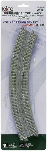 N Kato Unitrack 7078114 Doppelgleis, gebogen, überhöht 45 ° 381 mm, 414 mm
