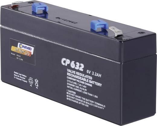 Bleiakku 6 V 3.2 Ah Conrad energy CE6V/3,2Ah 250103 Blei-Vlies (AGM) (B x H x T) 134 x 61 x 34 mm Flachstecker 4.8 mm Wartungsfrei