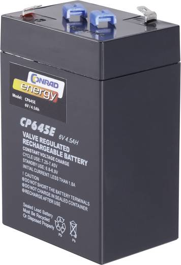 Conrad energy CE 6V / 4,5 Ah 250116 Bleiakku 6 V 4.5 Ah Blei-Vlies (AGM) (B x H x T) 70 x 108 x 48 mm Flachstecker 4.8 m
